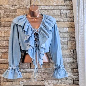 💎💗 Vintage Crop Boho Ruffle Jeans Top 90s